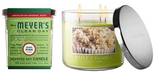Mrs-Meyers-Iowa-Pine-Scented-Soy-Candle-and-Bath-and-Body-Works-Apple-Crumble-Candle