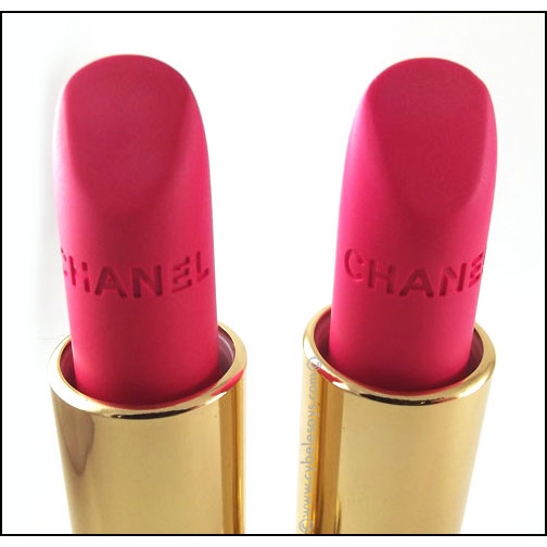 Chanel-Rouge-Allure-Velvet-L'Eclatante-and-La-Favorite-up-close