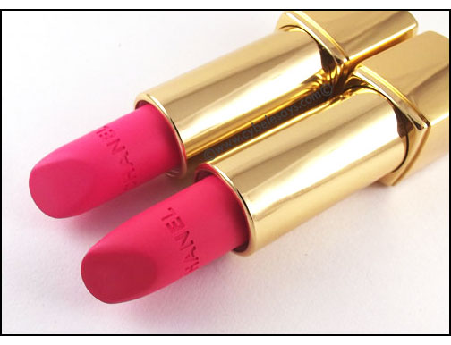 Chanel-Rouge-Allure-Velvet-L'Eclatante-and-La-Favorite-laying-down