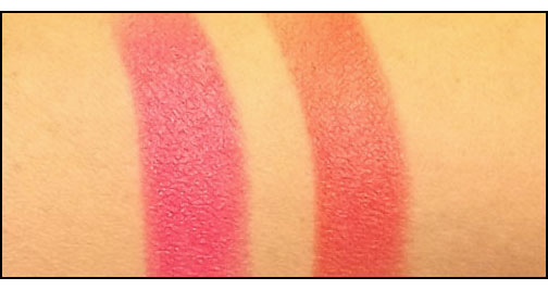 Chanel-Rouge-Allure-Velvet-L'Eclatante-and-La-Favorite-swatches