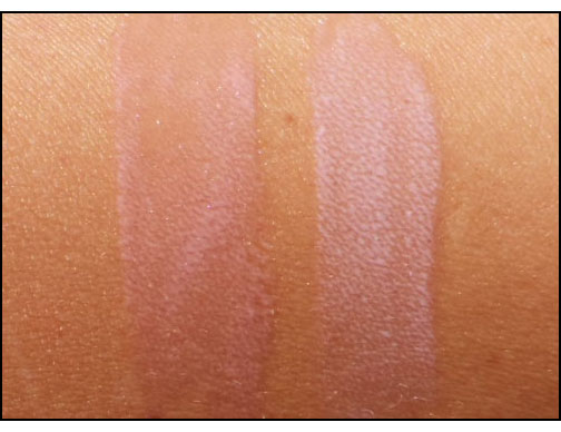 Laura-Mercier-Lip-Glace-in-Pout-and-Bare-Baby-swatches
