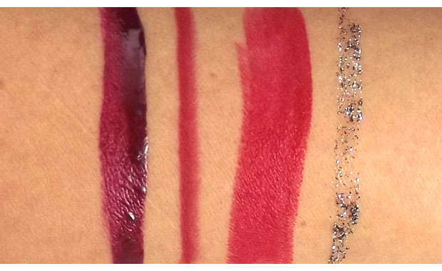 Urban-Decay-Pulp-Fiction-Nail-Color-Lip-Liner-Revolution-Lipstick-and-Glitter-Liner-swatches