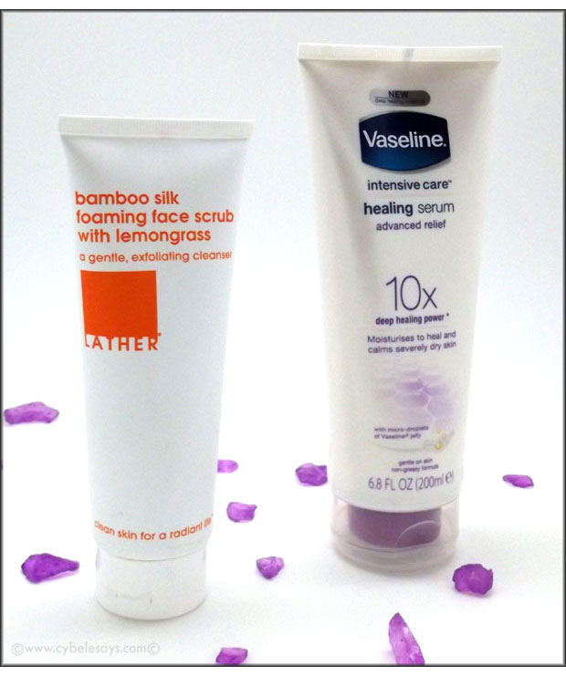 Lather-Bamboo-Silk-Foaming-Face-Scrub-and-Vaseline-Healing-Serum
