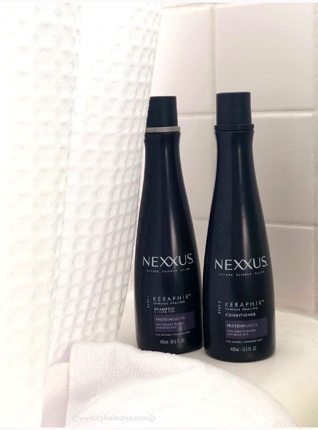NEXXUS-Keraphix-Shampoo-&-Conditioner-in-bathroom