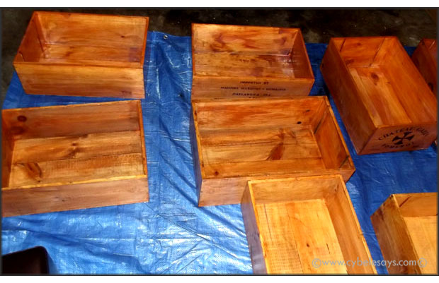 Wine-crates-being-stained