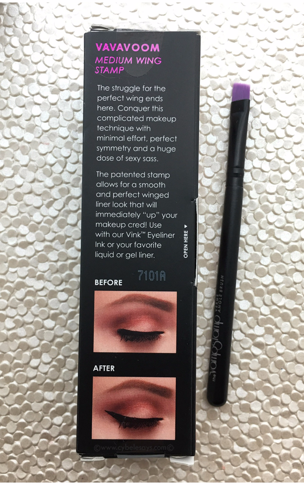 The Vamp Stamp is a rubber mold that will stamp your wing liner right on the corner of your eye. Check out a full review.