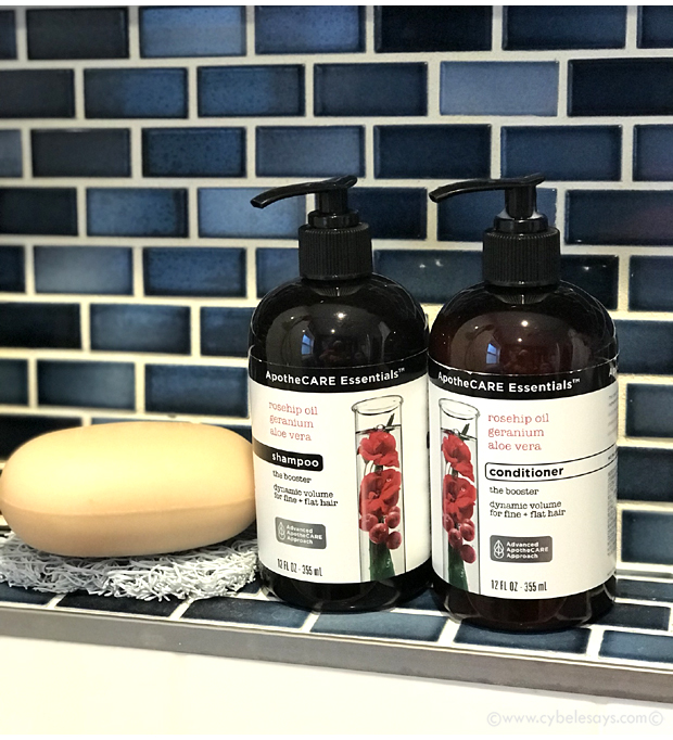 ApotheCARE-Essentials-Shampoo-and-Conditioner-on-tub-shelf