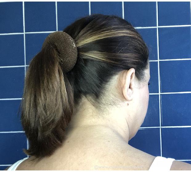 Suave-Green-hair-bun-tutorial-donut-in-hair