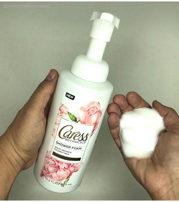 Caress-Shower-Foam-in-White-Orchid-&-Coconut-Milk-foam-m