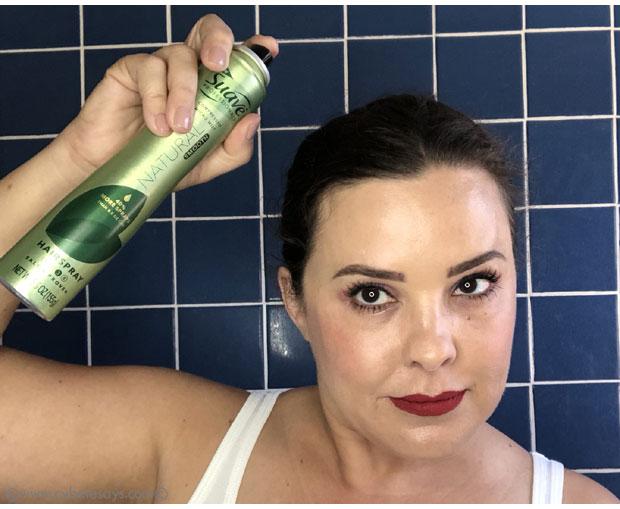 Using-Suave-Green-Micro-Mist-Hairspray