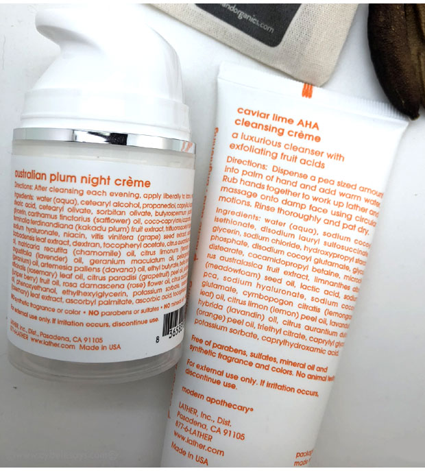 Lather-Caviar-Lime-AHA-Cleansing-Creme-and-Australian-Plum-Night-Creme-labels