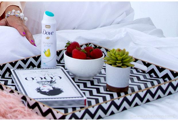 Dove-DrySpray-Deodorant-on-the-bed