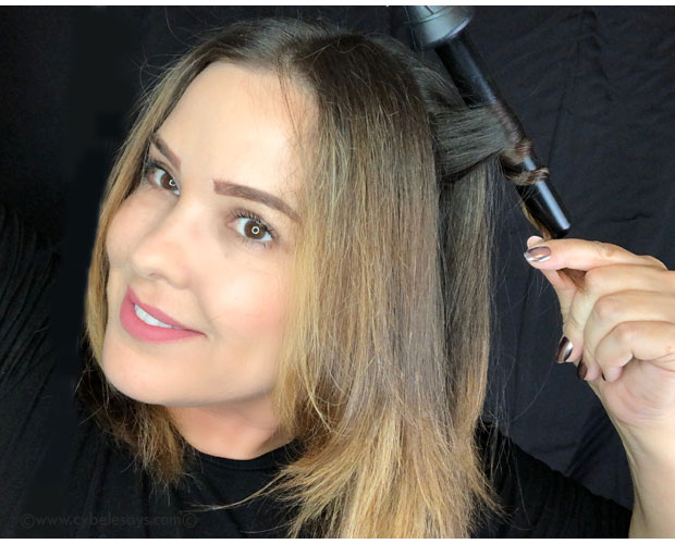 TRESemme-NYFW-using-a-conical-curler-on-my-hair